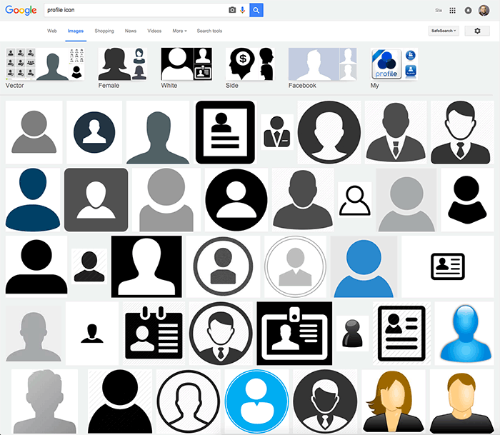 The top profile icons in a Google Images search show a sadly unsurprising lack of diversity.
