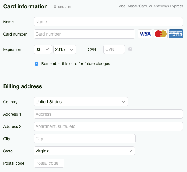 The default payment form on Kickstarter