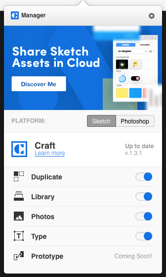 The Craft plugin manager lets you control which tools you install for Sketch and/or Photoshop.