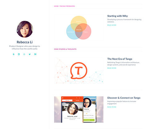 Rebecca Li has a lovely minimal portfolio page.