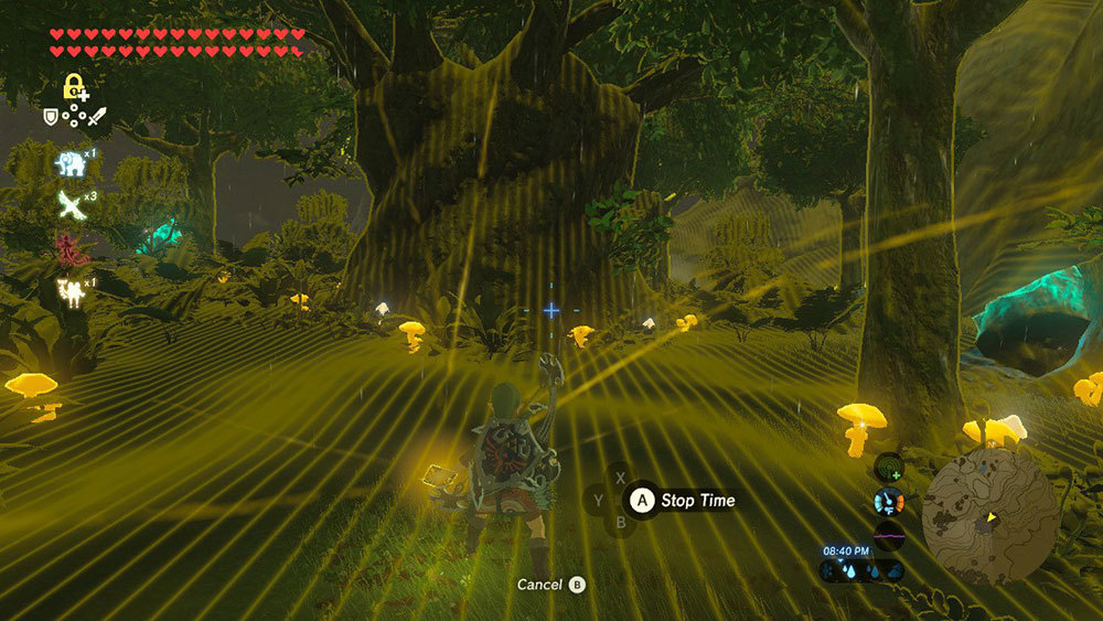 Link's Stasis ability can stop time, and also shows interactive objects in bright yellow