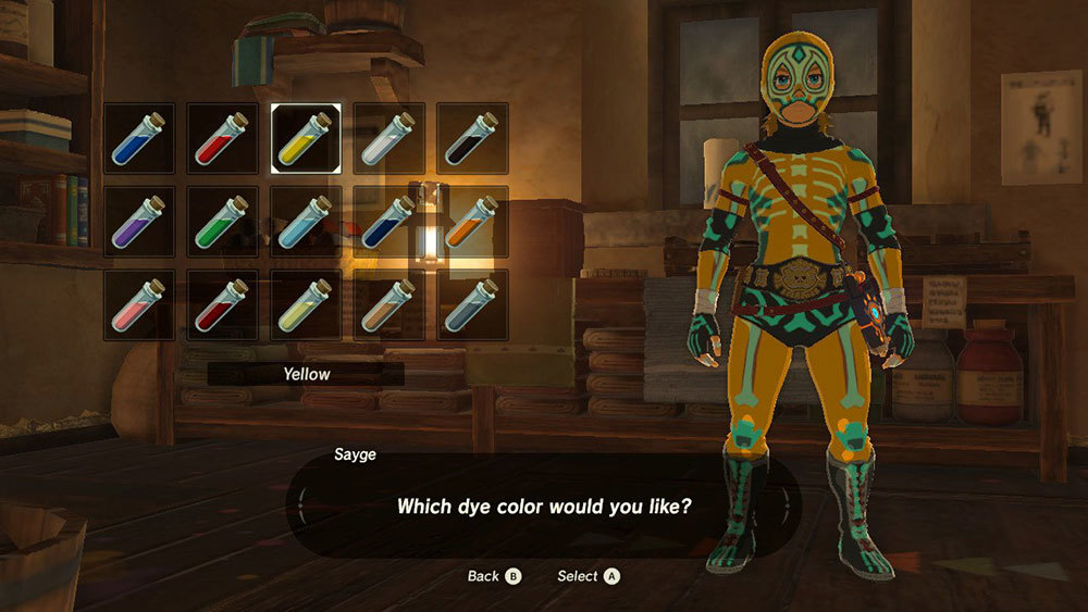 Link wearing a luchador outfit with different color options displayed