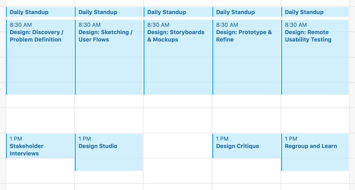 A screenshot of a calendar with 3 hour blocks for design every morning from 8:30-11:30 and team meetings for interviews, design studios, design critique, and learning in the afternoons