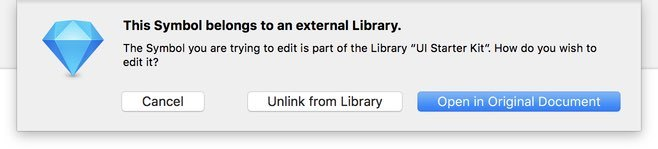 Screenshot: When editing a symbol from an external library, you can either open the original library file, unlink it and make it a local symbol, or choose not to edit it.