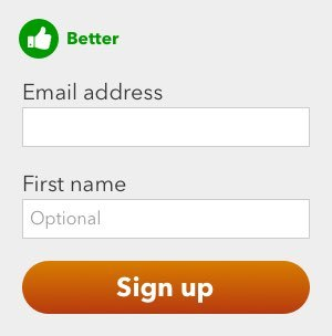 A subscription form with just two fields: Email and first name (marked as optional)