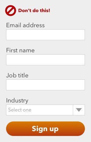 A subscription form with four fields: Email, name, job title, and industry. Who would fill all that out?