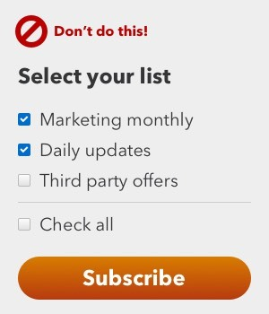 A screenshot of a form with multiple checkboxes for different mailing lists and a button labelled Subscribe
