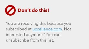 Footer text from an email where the unsubscribe link looks like the rest of the text. Don't do this!