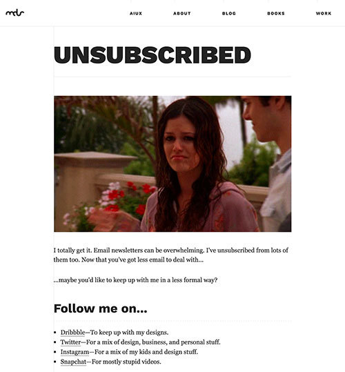 Matt Smith's unsubscribe page has gifs, social subscribe options, and a friendly goodbye.