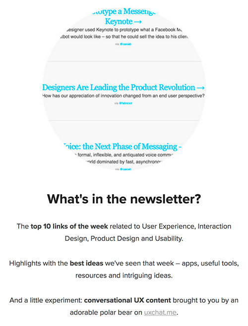 A screenshot of the homepage for UX.email that shows a tease of the email and a list of the content within it.