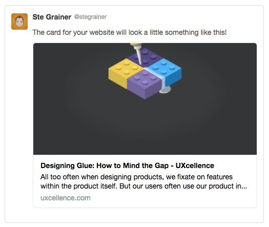 Screenshot: Twitter cards can show the page title, a brief description, and an image when users share links to your site.