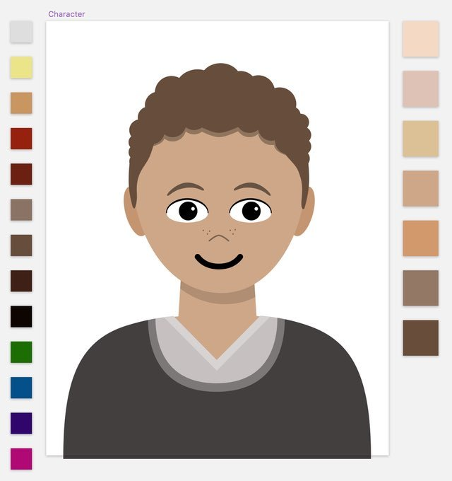 Screenshot: The default character symbol shows a gender-neutral person of medium complexion and medium brown hair. On the right of the symbol are seven skin-color symbols ranging from pale to dark. On the left of the symbol are nine natural hair colors from grey to black and four bright dyes.