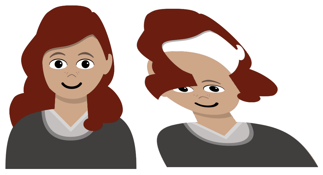 Screenshot: A side-by-side comparison of the character flattened and an isometric view showing how the hair is layered above the body, with the shoulder and ear cut out so the hair appears to go behind them.