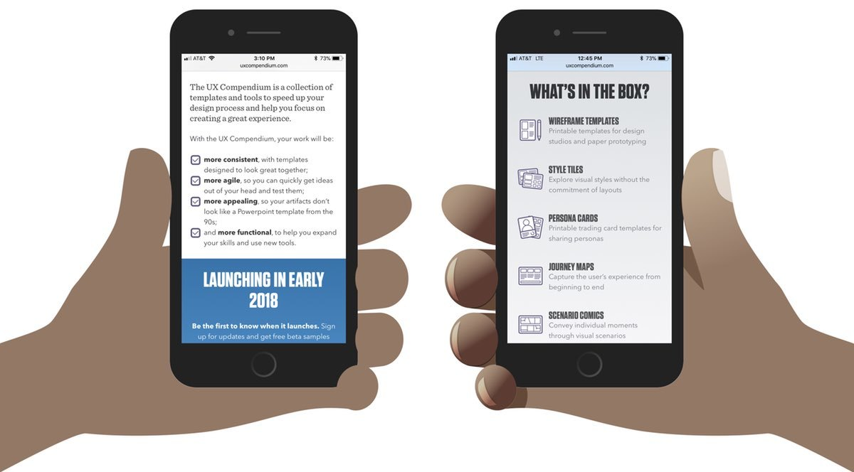 Screenshots: To the left is a hand holding a phone with no shading added. The fingers overlap the screen, but without depth, it looks odd. On the right, a hand holding a phone with shading added. It looks more realistic.