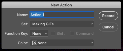The New Action dialog in Photoshop has 4 fields: Name, Set, Function Key, and Color. Then you create your action by hitting Record.