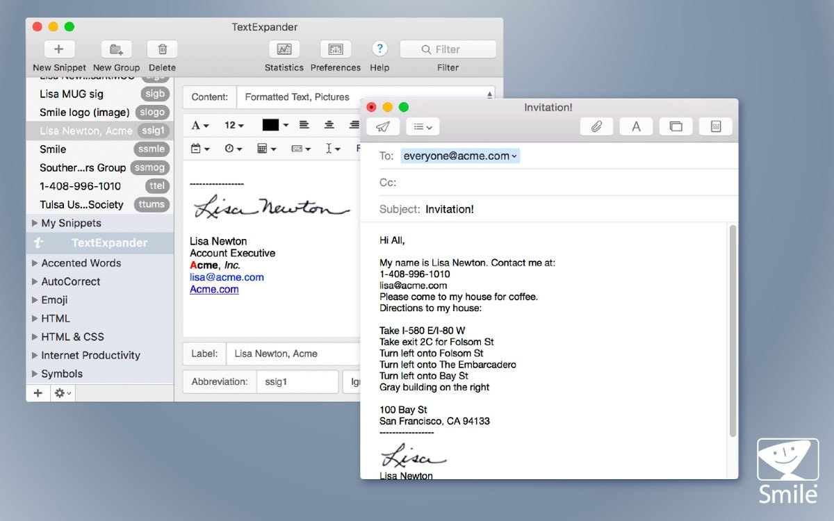 Screenshot: The TextExpander interface shows a list of snippets with their associated shortcuts as well as several groups of related snippets. It also shows a selected signature snippet and an email in which the snippet has been inserted.
