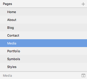 A list of pages in a Sketch document reading Home, About, Blog, Contact, Media, Portfolio, Symbols, and Styles.