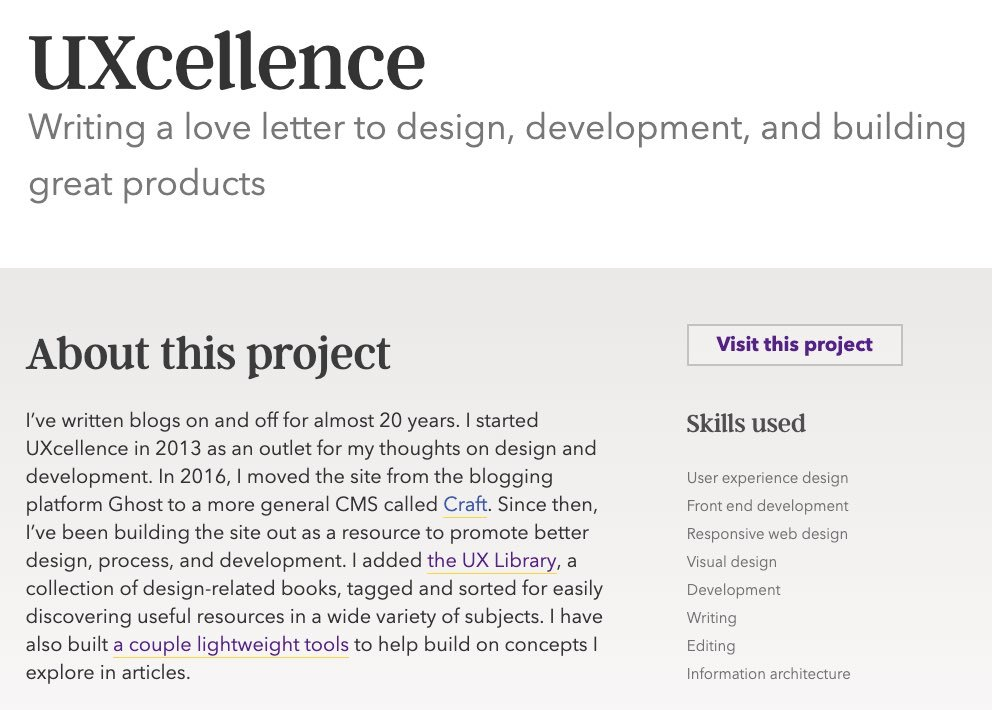 A screenshot of a portfolio entry where the list of skills used on that project appears as a list to the right of a brief description of the project.